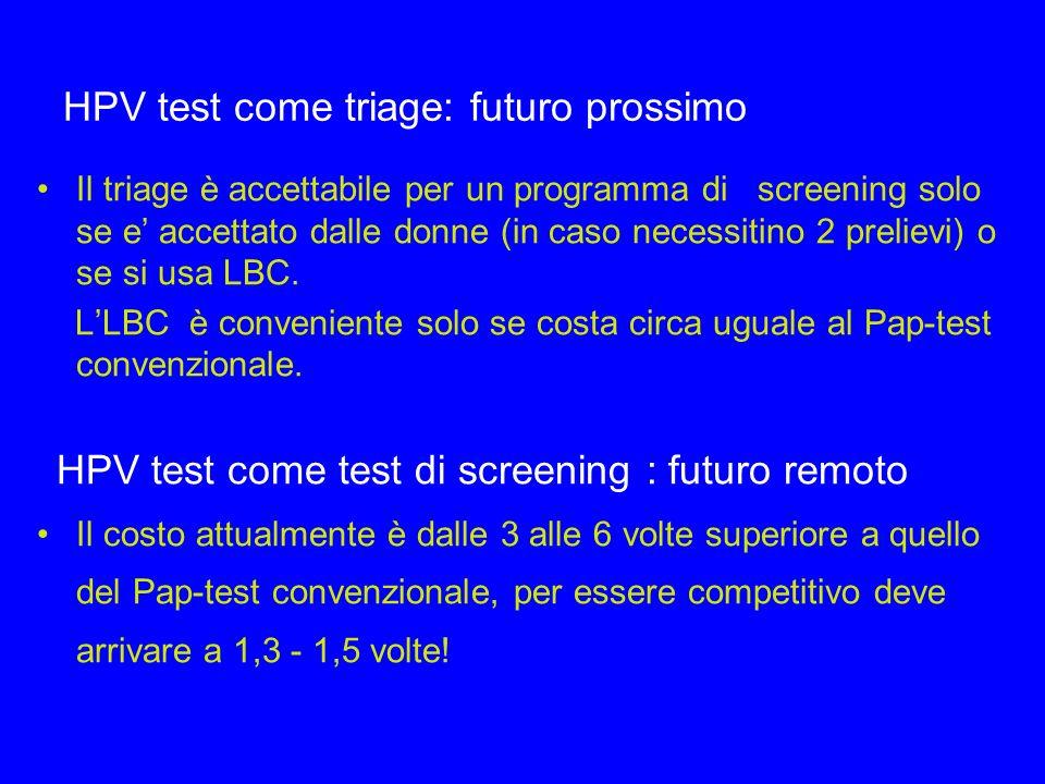 HPV test come triage: futuro prossimo Il triage è accettabile per un programma di screening solo se e accettato dalle donne (in caso necessitino 2 pre