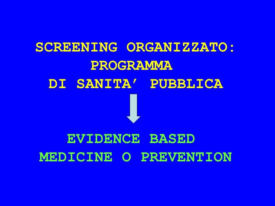 SCREENING ORGANIZZATO: PROGRAMMA DI SANITA PUBBLICA EVIDENCE BASED MEDICINE O PREVENTION