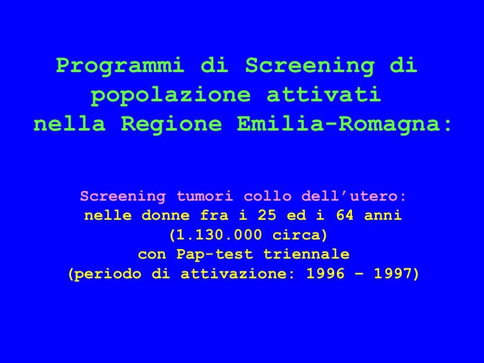 Distribuzione della coorte per programma di screening, anno di inizio, numero di donne in studio e numero di casi N.