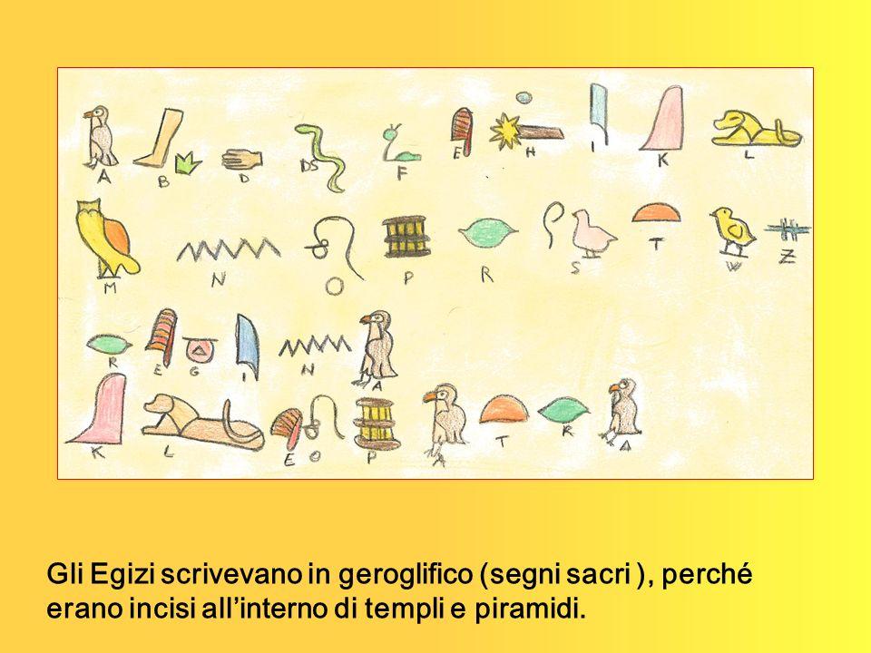 Gli Egizi scrivevano in geroglifico (segni sacri ), perché erano incisi allinterno di templi e piramidi.