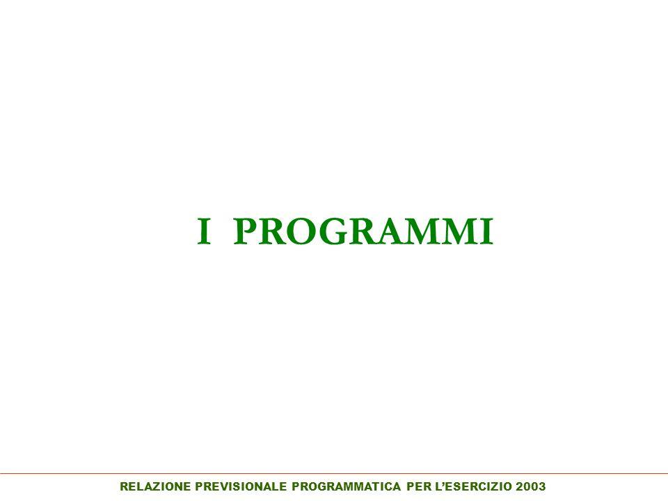RELAZIONE PREVISIONALE PROGRAMMATICA PER LESERCIZIO 2003 I PROGRAMMI