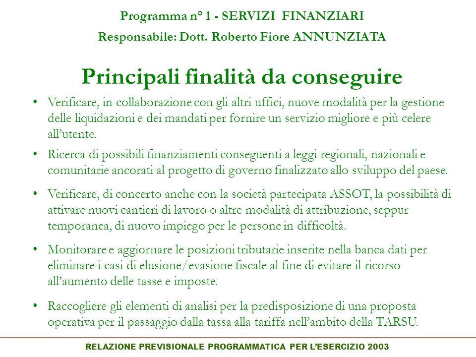 RELAZIONE PREVISIONALE PROGRAMMATICA PER LESERCIZIO 2003 Principali finalità da conseguire Programma n° 1 - SERVIZI FINANZIARI Responsabile: Dott.