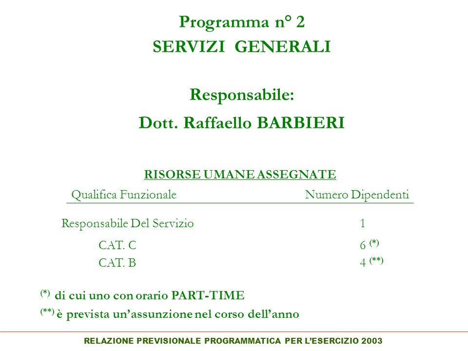 RELAZIONE PREVISIONALE PROGRAMMATICA PER LESERCIZIO 2003 Programma n° 2 SERVIZI GENERALI Responsabile: Dott.