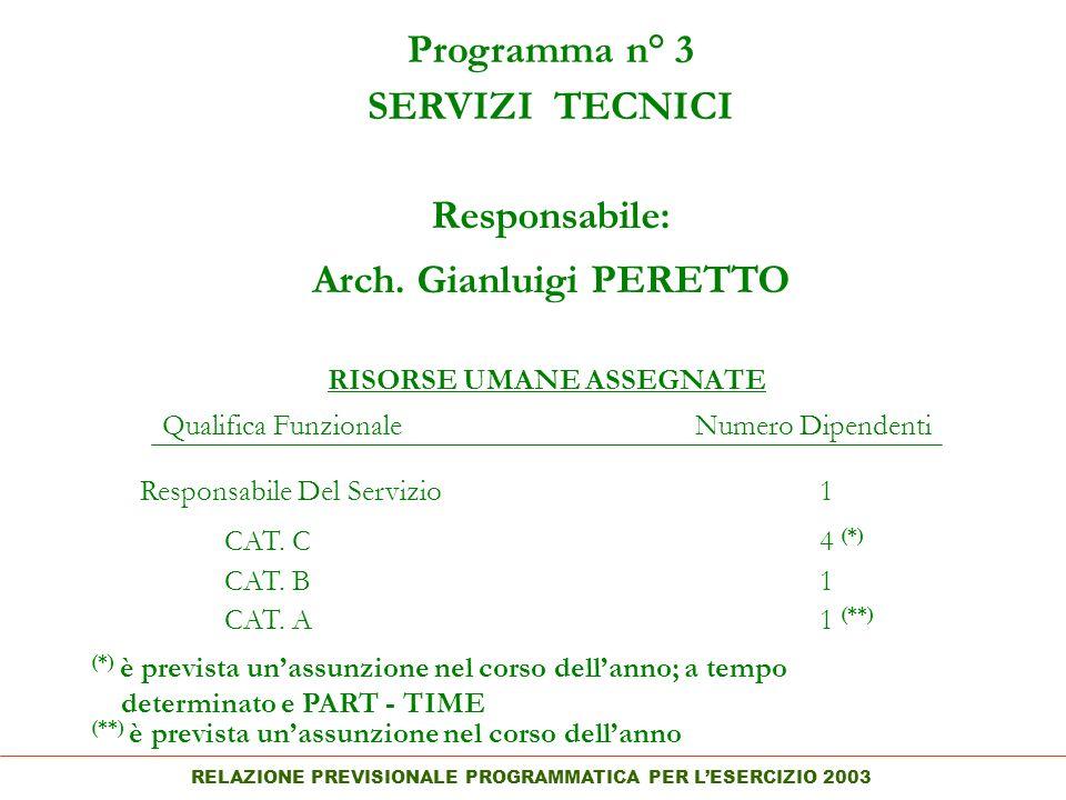 RELAZIONE PREVISIONALE PROGRAMMATICA PER LESERCIZIO 2003 Programma n° 3 SERVIZI TECNICI Responsabile: Arch.