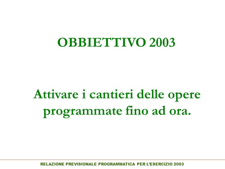 RELAZIONE PREVISIONALE PROGRAMMATICA PER LESERCIZIO 2003 OBBIETTIVO 2003 Attivare i cantieri delle opere programmate fino ad ora.