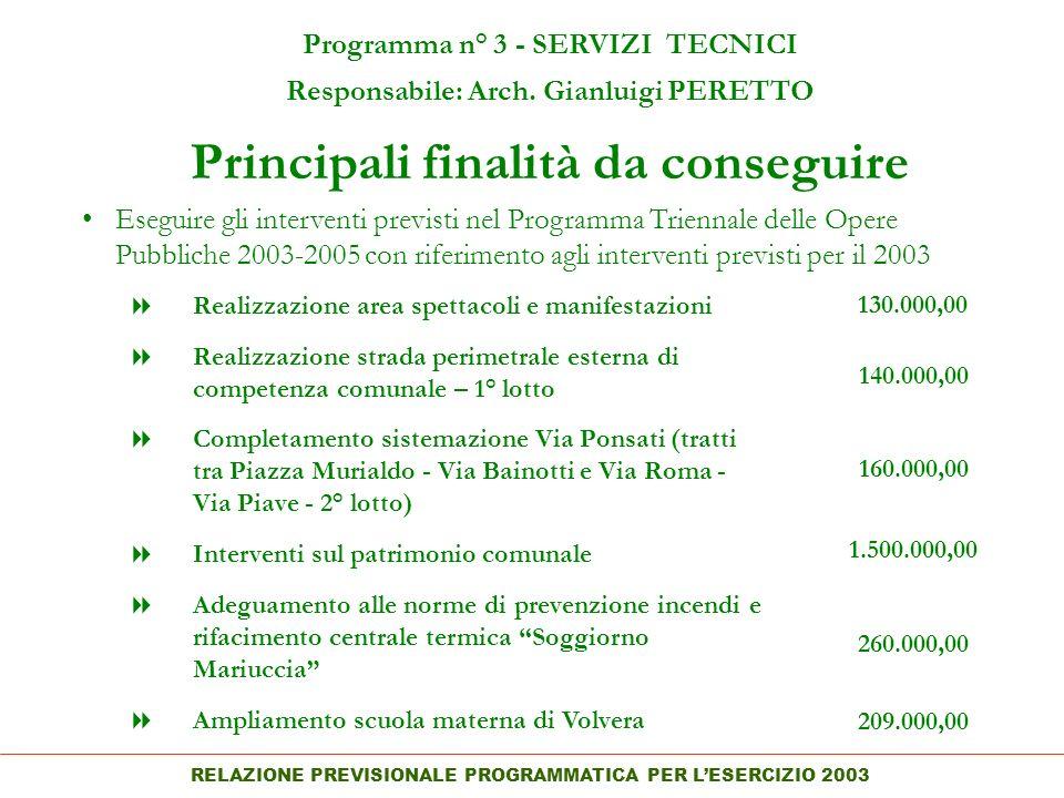 RELAZIONE PREVISIONALE PROGRAMMATICA PER LESERCIZIO 2003 Principali finalità da conseguire Programma n° 3 - SERVIZI TECNICI Responsabile: Arch.