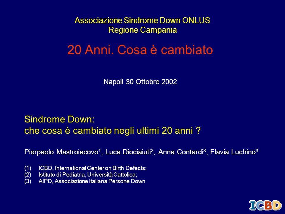 20 Anni. Cosa è cambiato Napoli 30 Ottobre 2002 Associazione Sindrome Down ONLUS Regione Campania Sindrome Down: che cosa è cambiato negli ultimi 20 a