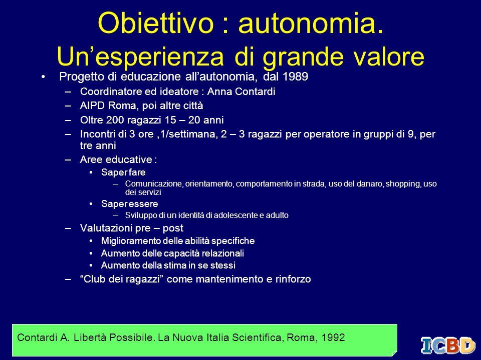 Obiettivo : autonomia. Unesperienza di grande valore Progetto di educazione allautonomia, dal 1989 –Coordinatore ed ideatore : Anna Contardi –AIPD Rom