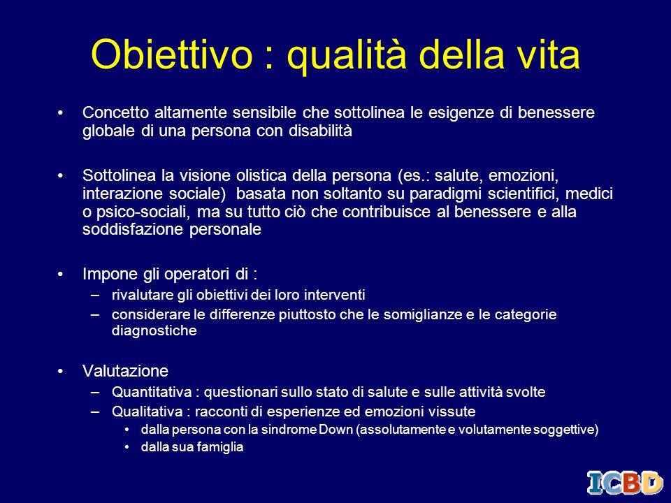 Obiettivo : qualità della vita Concetto altamente sensibile che sottolinea le esigenze di benessere globale di una persona con disabilità Sottolinea l