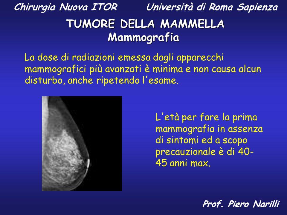 Mammografia La dose di radiazioni emessa dagli apparecchi mammografici più avanzati è minima e non causa alcun disturbo, anche ripetendo l'esame. L'et