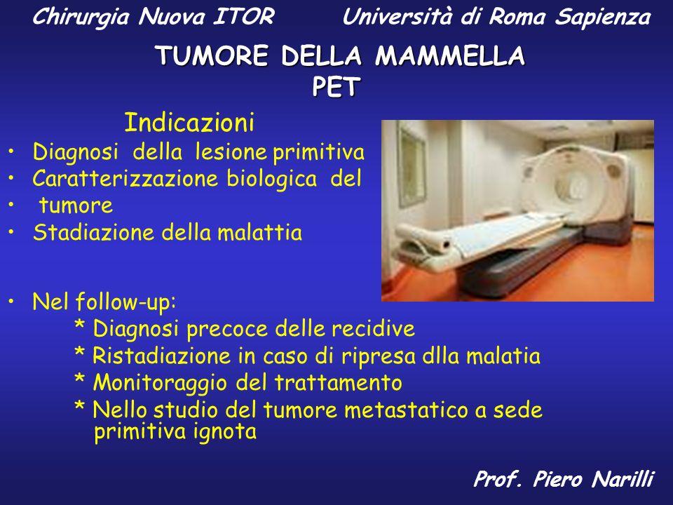 Chirurgia Nuova ITOR Università di Roma Sapienza TUMORE DELLA MAMMELLA Prof. Piero Narilli PET Indicazioni Diagnosi della lesione primitiva Caratteriz