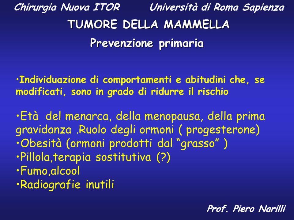 Chirurgia Nuova ITOR Università di Roma Sapienza TUMORE DELLA MAMMELLA Prof. Piero Narilli Prevenzione primaria Individuazione di comportamenti e abit