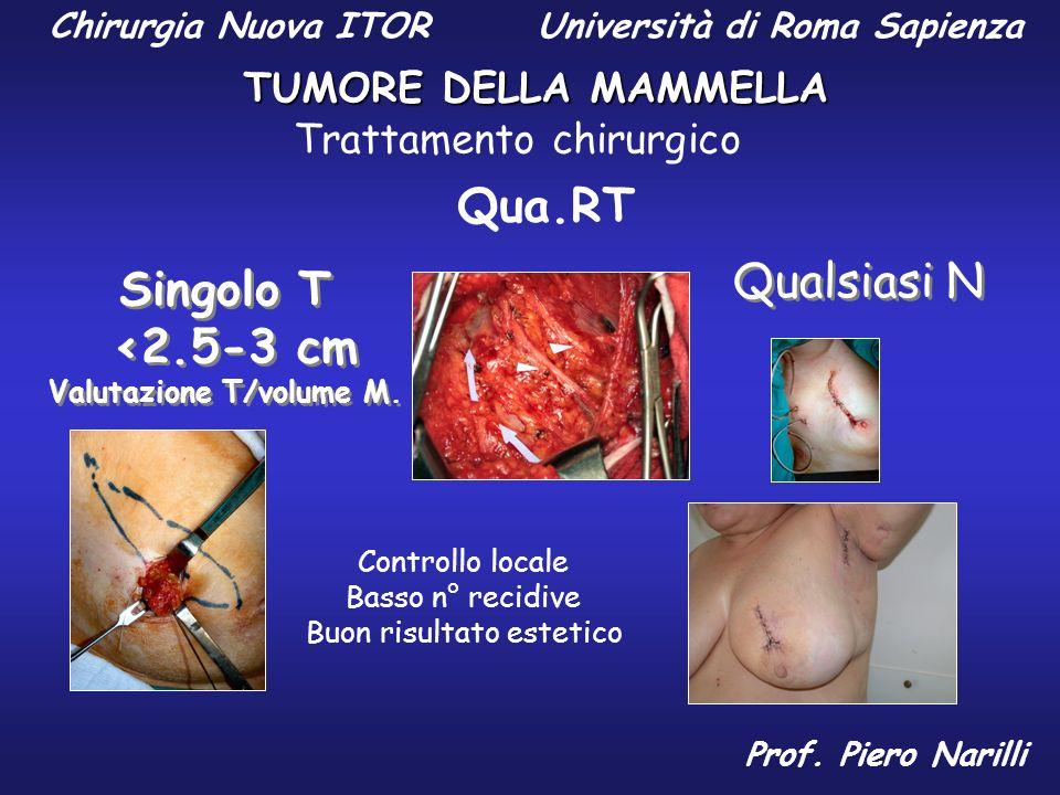 Qua.RT Singolo T <2.5-3 cm Valutazione T/volume M. Singolo T <2.5-3 cm Valutazione T/volume M. Controllo locale Basso n° recidive Buon risultato estet