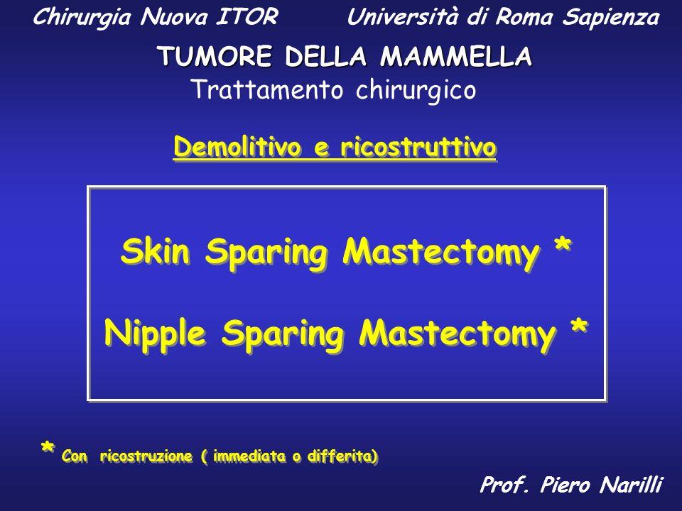 Demolitivo e ricostruttivo * Con ricostruzione ( immediata o differita) Skin Sparing Mastectomy * Nipple Sparing Mastectomy * Skin Sparing Mastectomy