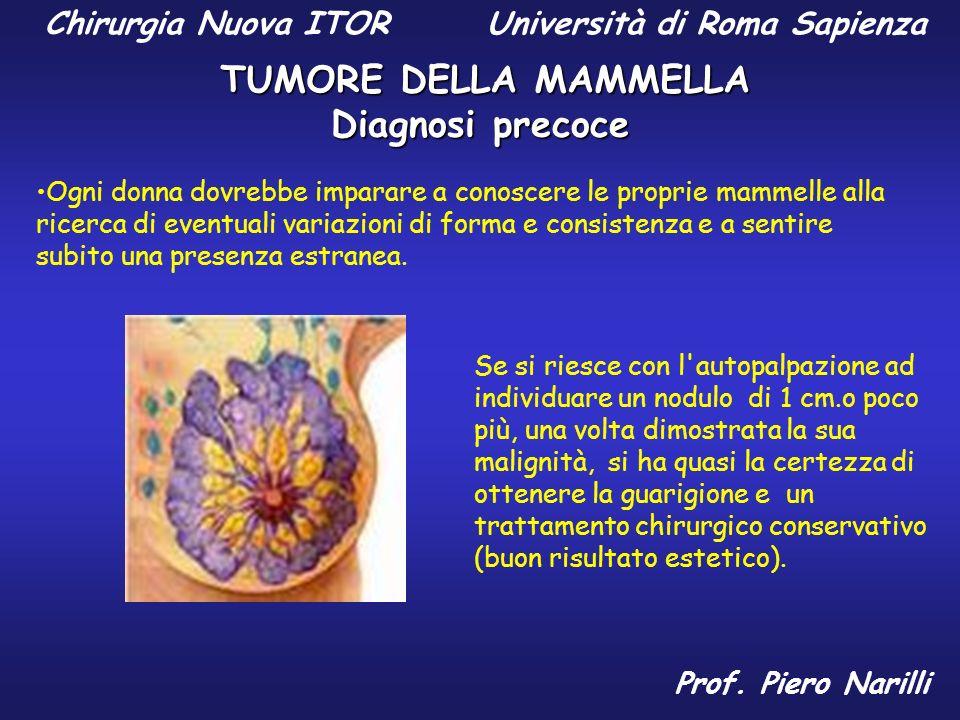Autopalpazione La ghiandola mammaria si presenta come un grappolo d uva, dove gli acini (deputati alla produzione di latte durante l allattamento) sono legati tra loro da tessuto fibroso e circondati da cellule di grasso.