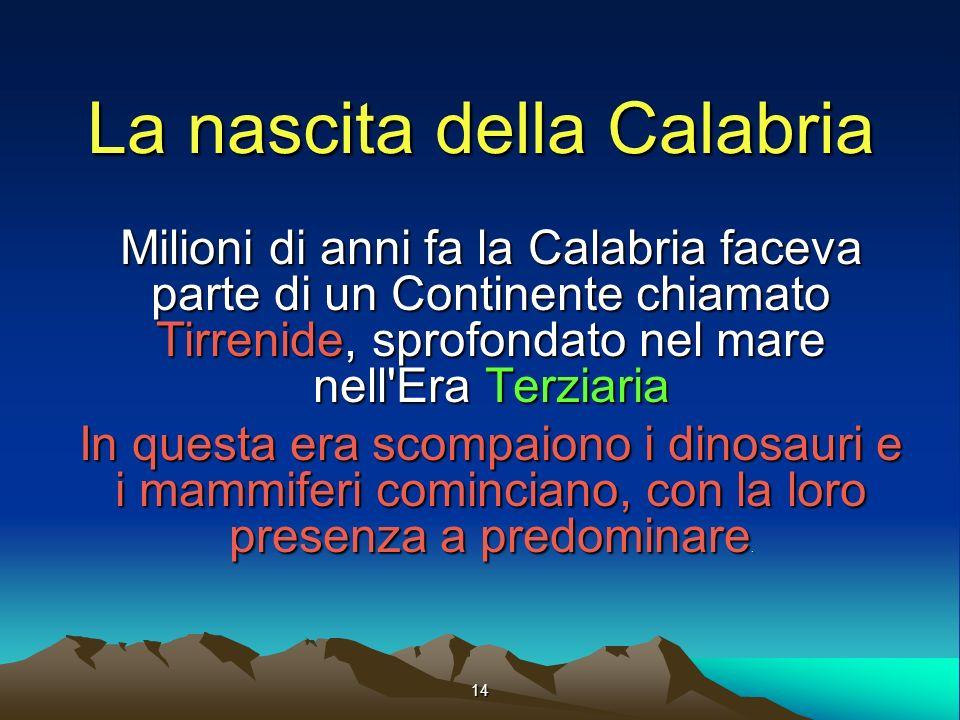 14 La nascita della Calabria Milioni di anni fa la Calabria faceva parte di un Continente chiamato Tirrenide, sprofondato nel mare nell Era Terziaria In questa era scompaiono i dinosauri e i mammiferi cominciano, con la loro presenza a predominare.