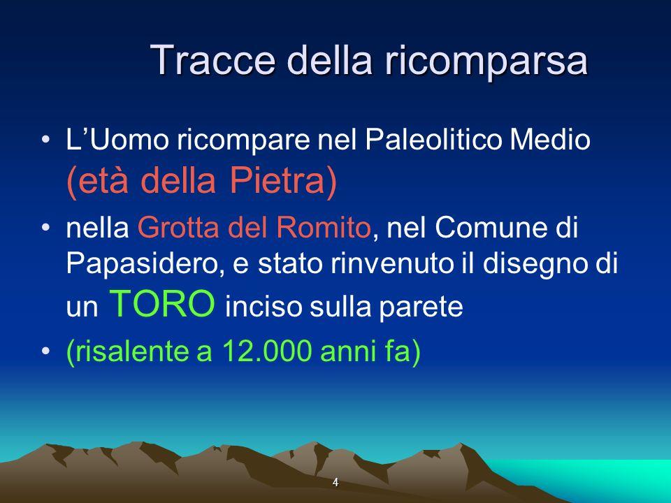 4 Tracce della ricomparsa LUomo ricompare nel Paleolitico Medio (età della Pietra) nella Grotta del Romito, nel Comune di Papasidero, e stato rinvenuto il disegno di un TORO inciso sulla parete (risalente a 12.000 anni fa)