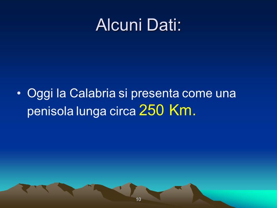 10 Alcuni Dati: Oggi la Calabria si presenta come una penisola lunga circa 250 Km.