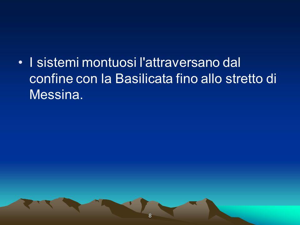 8 I sistemi montuosi l'attraversano dal confine con la Basilicata fino allo stretto di Messina.