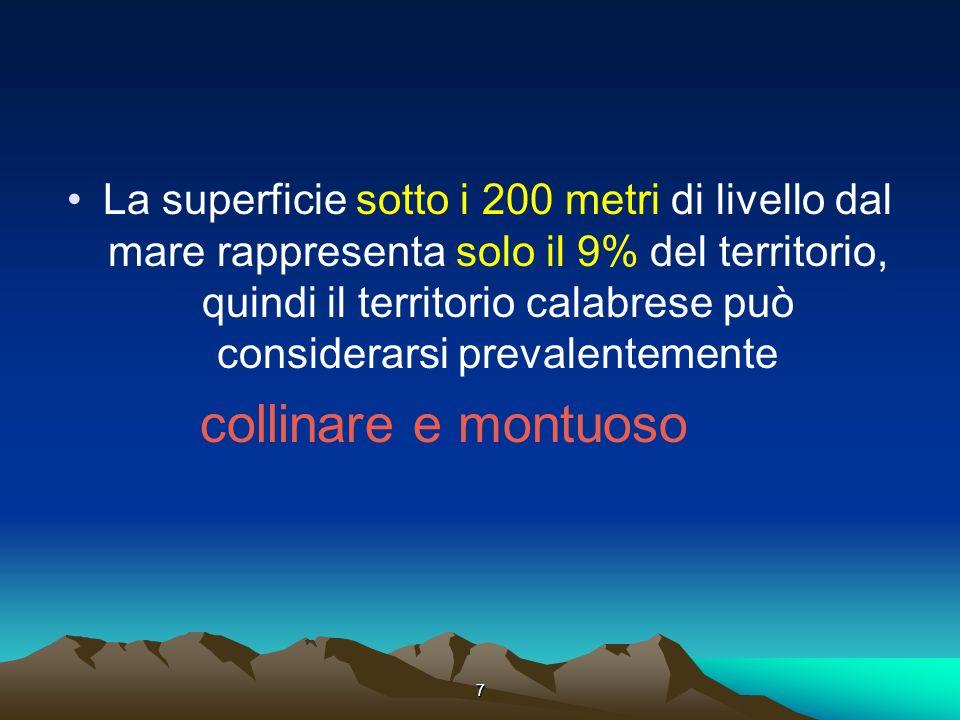 7 La superficie sotto i 200 metri di livello dal mare rappresenta solo il 9% del territorio, quindi il territorio calabrese può considerarsi prevalentemente collinare e montuoso