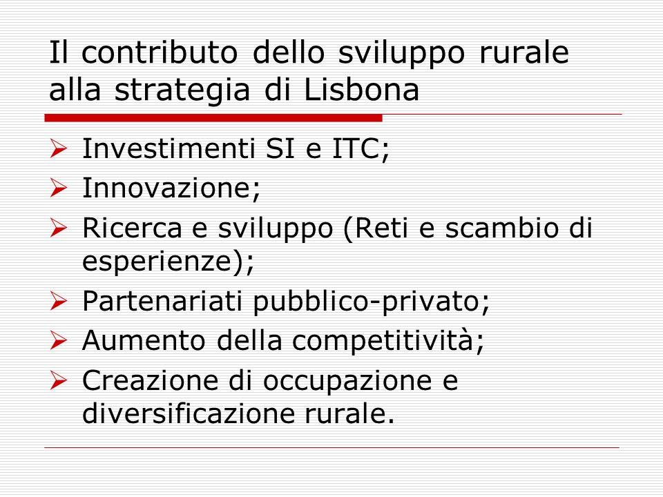 Il contributo dello sviluppo rurale alla strategia di Lisbona Investimenti SI e ITC; Innovazione; Ricerca e sviluppo (Reti e scambio di esperienze); Partenariati pubblico-privato; Aumento della competitività; Creazione di occupazione e diversificazione rurale.