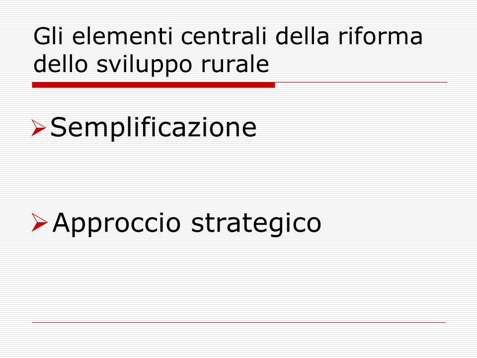 Gli elementi centrali della riforma dello sviluppo rurale Semplificazione Approccio strategico