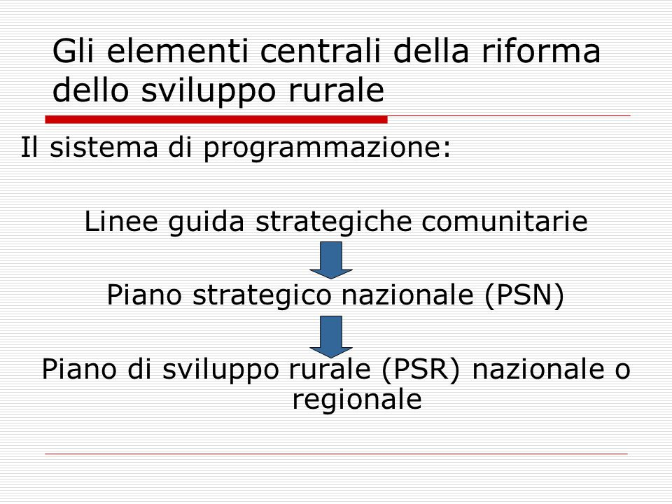 Gli elementi centrali della riforma dello sviluppo rurale Il sistema di programmazione: Linee guida strategiche comunitarie Piano strategico nazionale (PSN) Piano di sviluppo rurale (PSR) nazionale o regionale