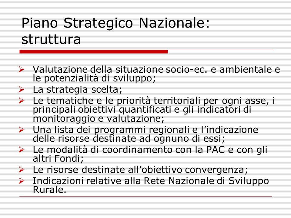 Valutazione della situazione socio-ec. e ambientale e le potenzialità di sviluppo; La strategia scelta; Le tematiche e le priorità territoriali per og
