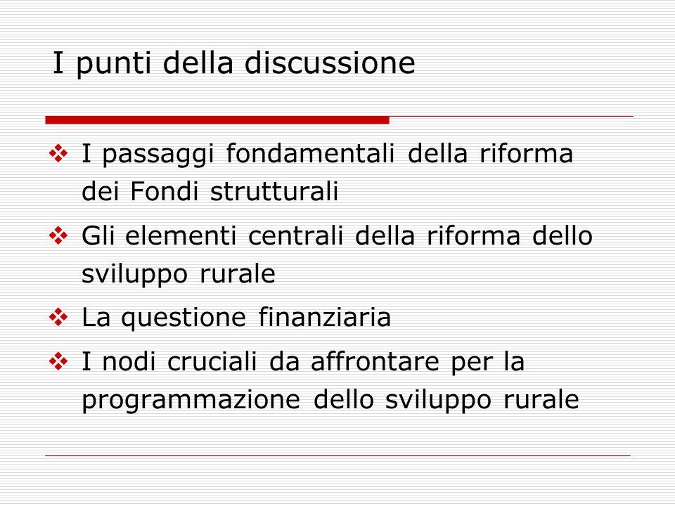 I passaggi fondamentali della riforma dei Fondi strutturali Gli elementi centrali della riforma dello sviluppo rurale La questione finanziaria I nodi cruciali da affrontare per la programmazione dello sviluppo rurale I punti della discussione