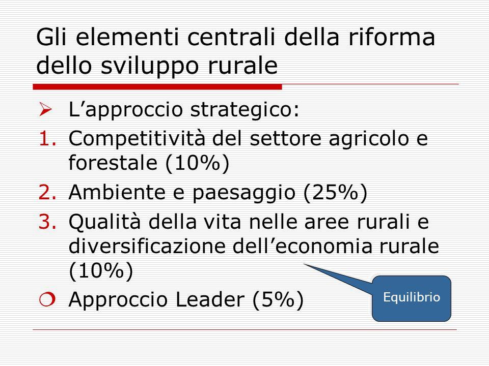 Gli elementi centrali della riforma dello sviluppo rurale Lapproccio strategico: 1.Competitività del settore agricolo e forestale (10%) 2.Ambiente e paesaggio (25%) 3.Qualità della vita nelle aree rurali e diversificazione delleconomia rurale (10%) Approccio Leader (5%) Equilibrio