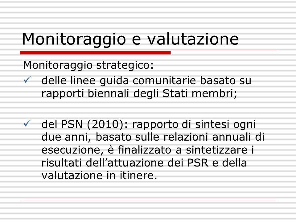 Monitoraggio e valutazione Monitoraggio strategico: delle linee guida comunitarie basato su rapporti biennali degli Stati membri; del PSN (2010): rapp