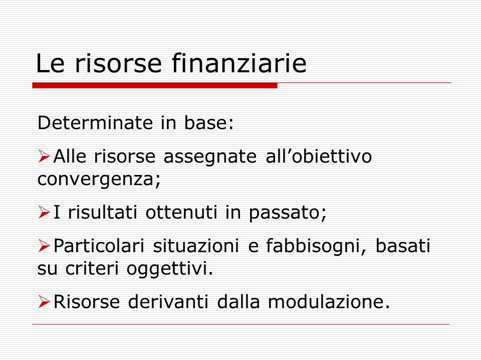 Le risorse finanziarie Determinate in base: Alle risorse assegnate allobiettivo convergenza; I risultati ottenuti in passato; Particolari situazioni e fabbisogni, basati su criteri oggettivi.