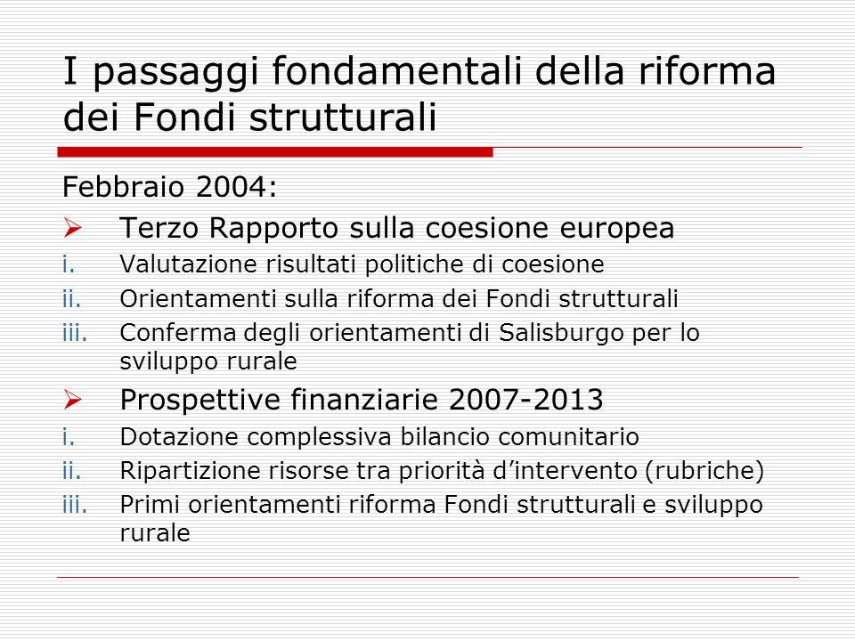 I passaggi fondamentali della riforma dei Fondi strutturali Febbraio 2004: Terzo Rapporto sulla coesione europea i.Valutazione risultati politiche di