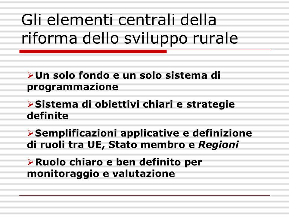 Gli elementi centrali della riforma dello sviluppo rurale Un solo fondo e un solo sistema di programmazione Sistema di obiettivi chiari e strategie definite Semplificazioni applicative e definizione di ruoli tra UE, Stato membro e Regioni Ruolo chiaro e ben definito per monitoraggio e valutazione