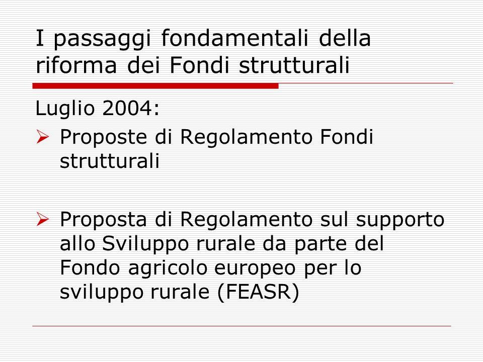 Luglio 2004: Proposte di Regolamento Fondi strutturali Proposta di Regolamento sul supporto allo Sviluppo rurale da parte del Fondo agricolo europeo per lo sviluppo rurale (FEASR) I passaggi fondamentali della riforma dei Fondi strutturali