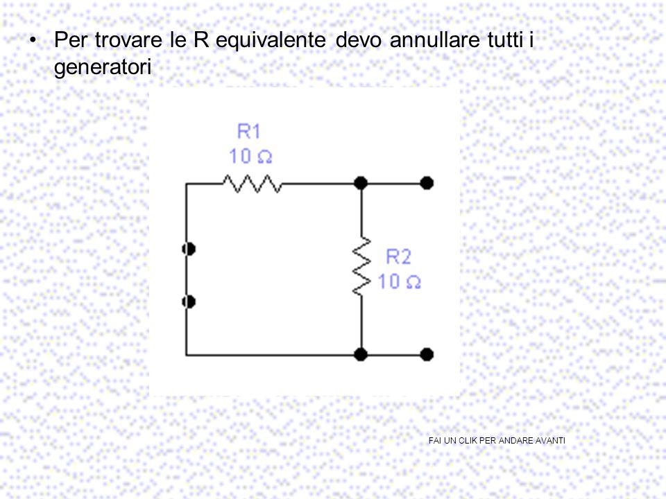 2° passo: calcolare R equivalente2° passo: calcolare R equivalente R eq =R1//R2=5 Ohm FAI UN CLIK PER ANDARE AVANTI