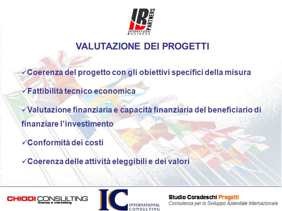 Coerenza del progetto con gli obiettivi specifici della misura Fattibilità tecnico economica Valutazione finanziaria e capacità finanziaria del beneficiario di finanziare linvestimento Conformità dei costi Coerenza delle attività eleggibili e dei valori VALUTAZIONE DEI PROGETTI