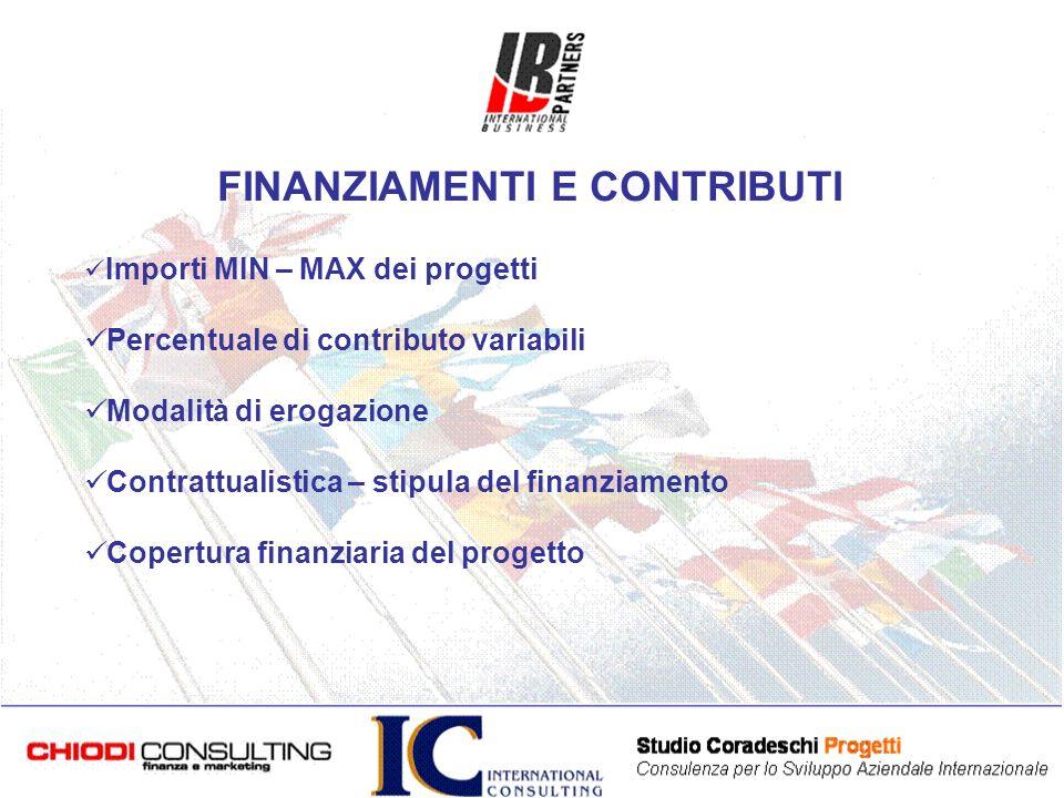 Importi MIN – MAX dei progetti Percentuale di contributo variabili Modalità di erogazione Contrattualistica – stipula del finanziamento Copertura finanziaria del progetto FINANZIAMENTI E CONTRIBUTI