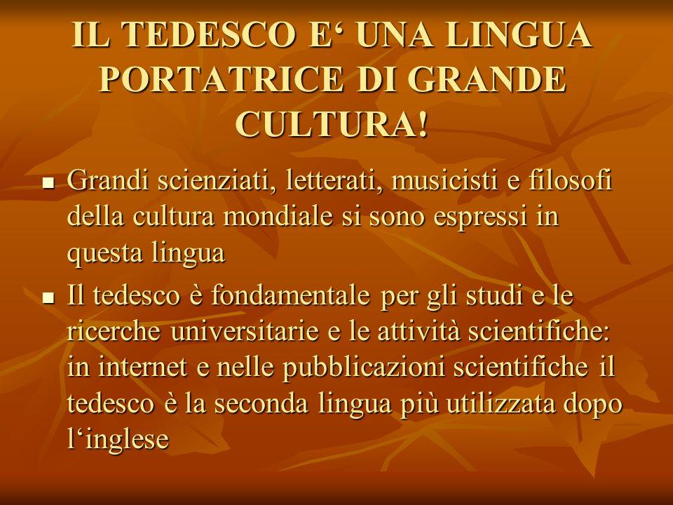 IL TEDESCO E UNA LINGUA PORTATRICE DI GRANDE CULTURA! Grandi scienziati, letterati, musicisti e filosofi della cultura mondiale si sono espressi in qu