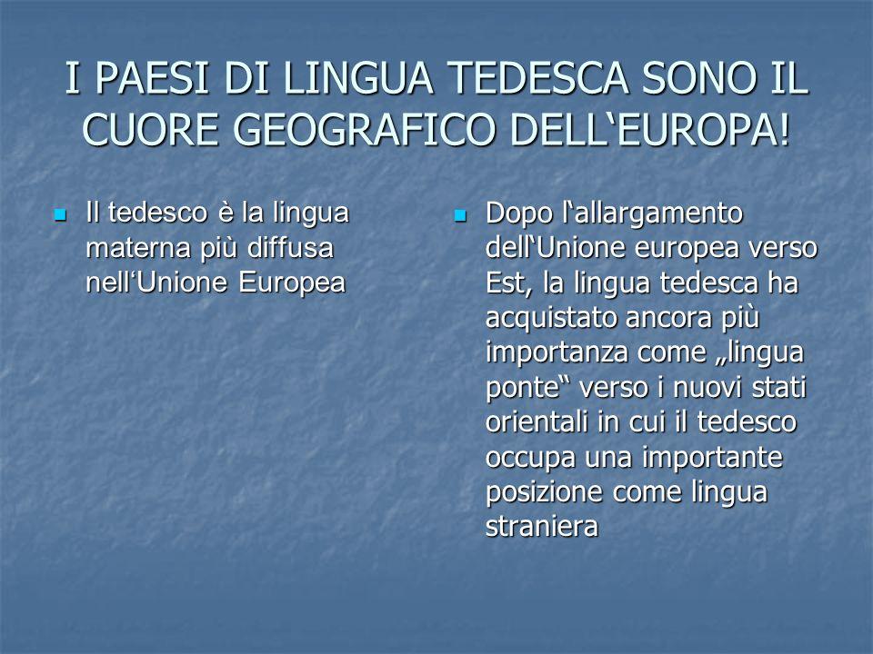 I PAESI DI LINGUA TEDESCA SONO IL CUORE GEOGRAFICO DELLEUROPA! Il tedesco è la lingua materna più diffusa nellUnione Europea Il tedesco è la lingua ma