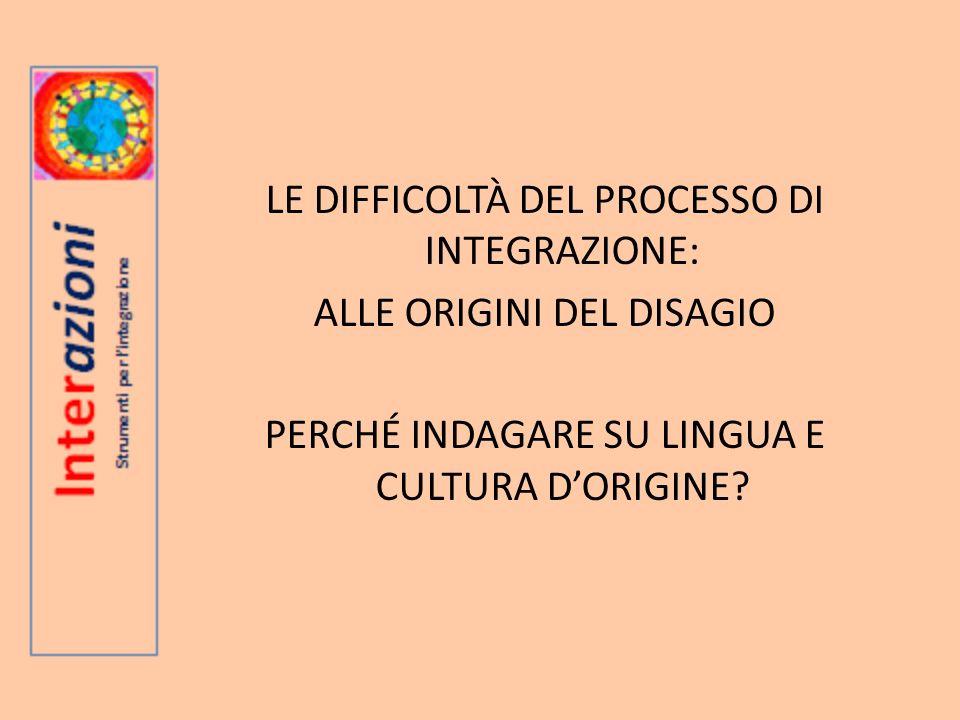 LE DIFFICOLTÀ DEL PROCESSO DI INTEGRAZIONE: ALLE ORIGINI DEL DISAGIO PERCHÉ INDAGARE SU LINGUA E CULTURA DORIGINE
