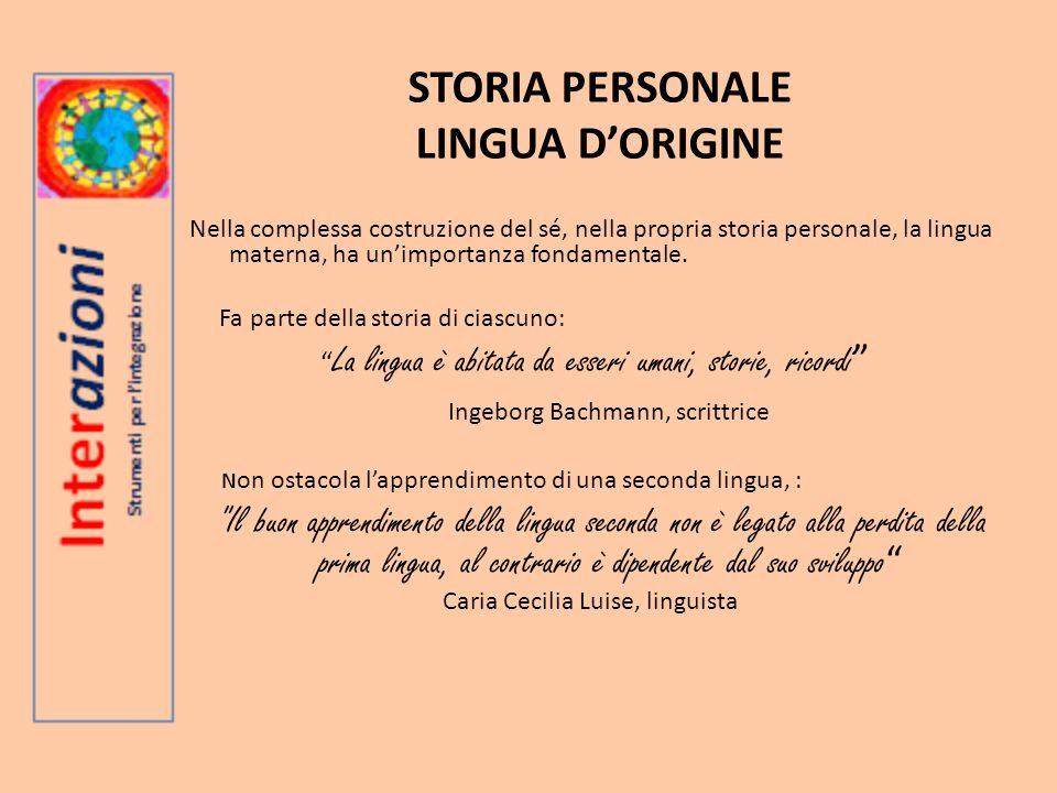 STORIA PERSONALE LINGUA DORIGINE Nella complessa costruzione del sé, nella propria storia personale, la lingua materna, ha unimportanza fondamentale.