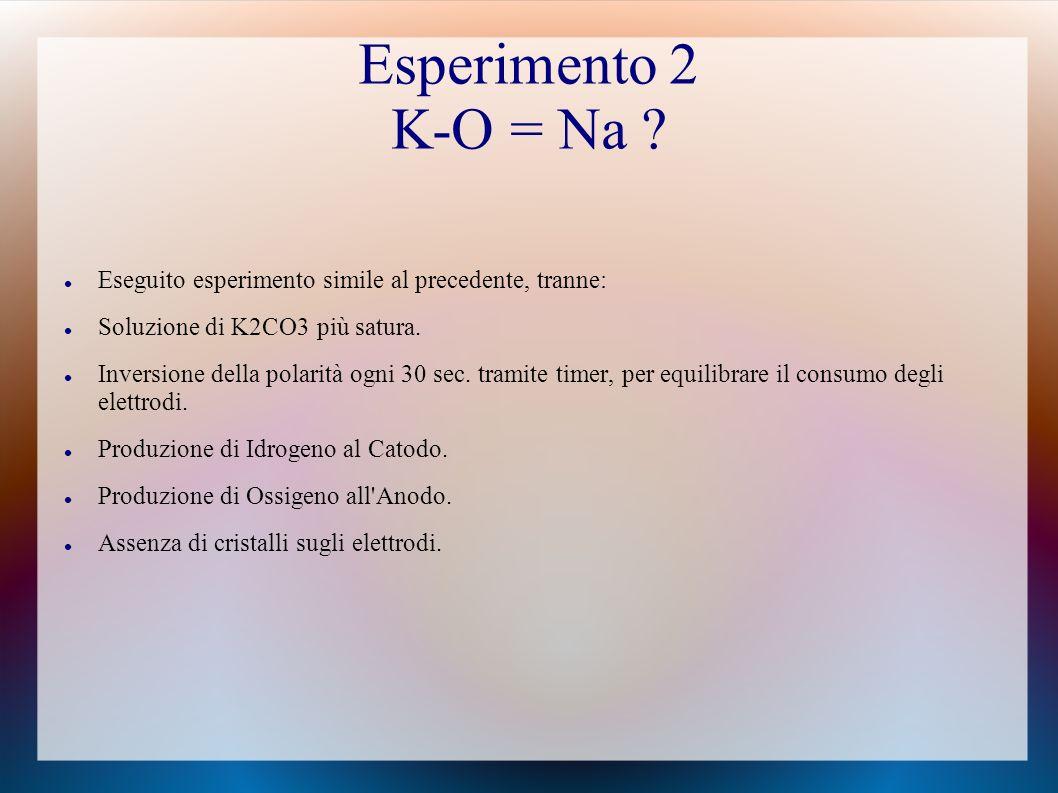 Esperimento 2 K-O = Na .