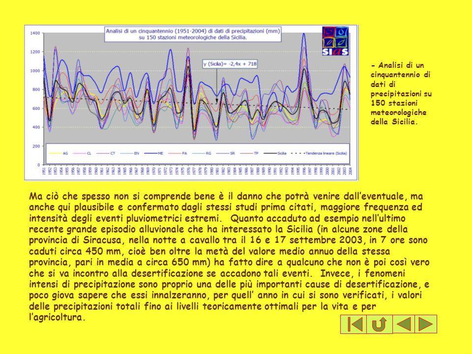 - Analisi di un cinquantennio di dati di precipitazioni su 150 stazioni meteorologiche della Sicilia. Ma ciò che spesso non si comprende bene è il dan