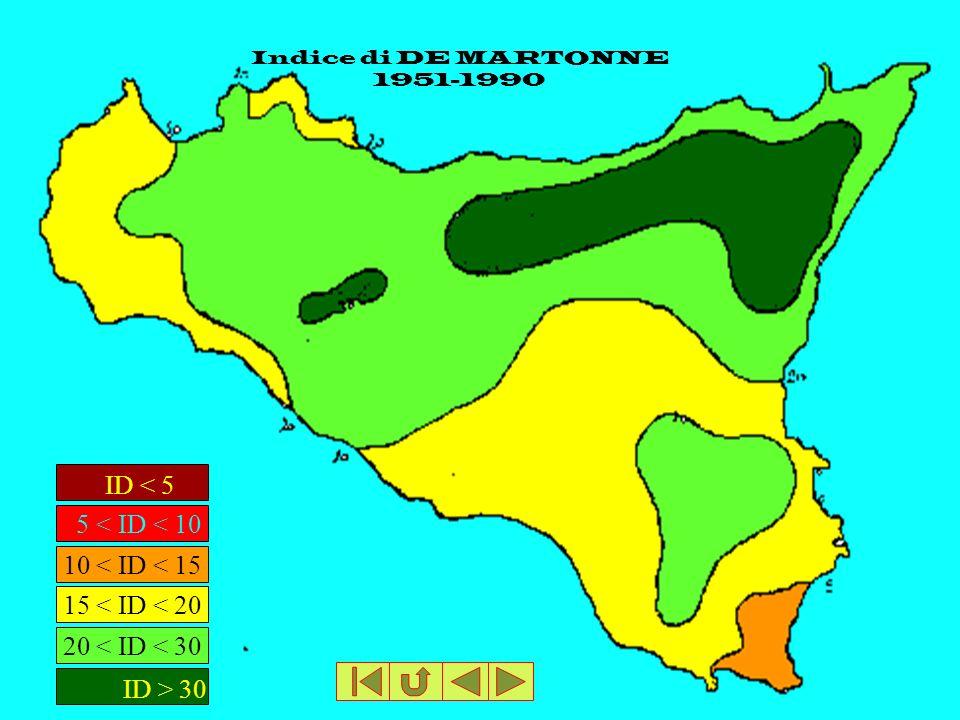 Indice di DE MARTONNE 1951-1990 ID < 5 5 < ID < 10 ID > 30 20 < ID < 30 15 < ID < 20 10 < ID < 15