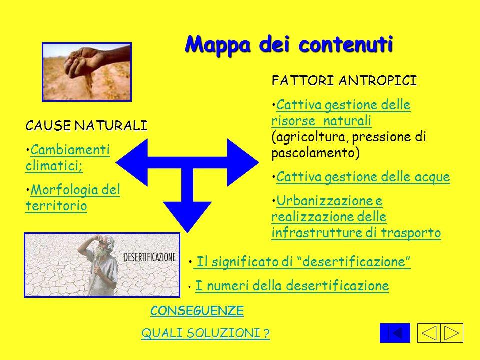FATTORI ANTROPICI Cattiva gestione delle risorse naturali (agricoltura, pressione di pascolamento)Cattiva gestione delle risorse naturali Cattiva gest