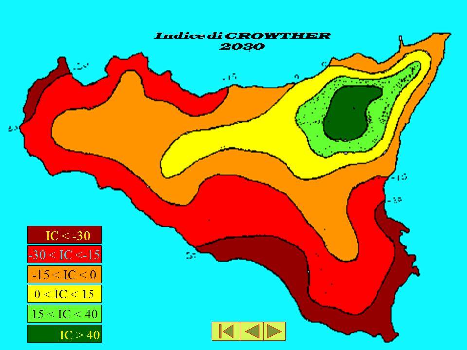 Indice di CROWTHER 2030 IC < -30 -30 < IC <-15 IC > 40 15 < IC < 40 0 < IC < 15 -15 < IC < 0