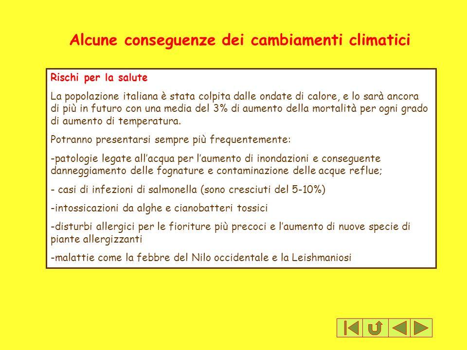 Alcune conseguenze dei cambiamenti climatici Rischi per la salute La popolazione italiana è stata colpita dalle ondate di calore, e lo sarà ancora di