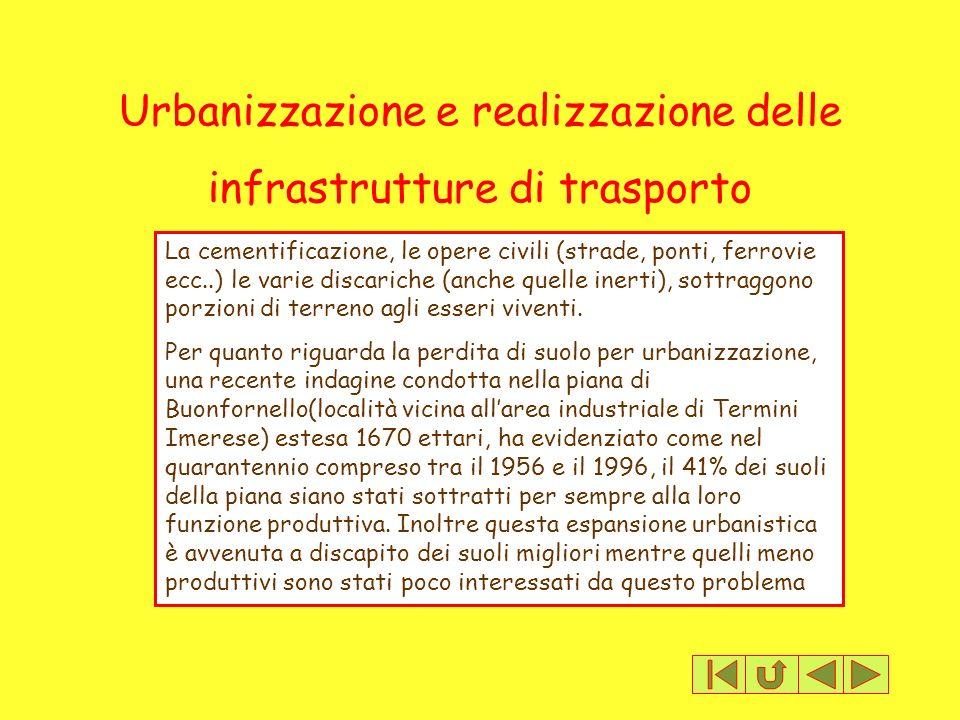 Urbanizzazione e realizzazione delle infrastrutture di trasporto La cementificazione, le opere civili (strade, ponti, ferrovie ecc..) le varie discari