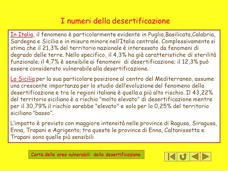 I numeri della desertificazione In Italia, il fenomeno è particolarmente evidente in Puglia,Basilicata,Calabria, Sardegna e Sicilia e in misura minore